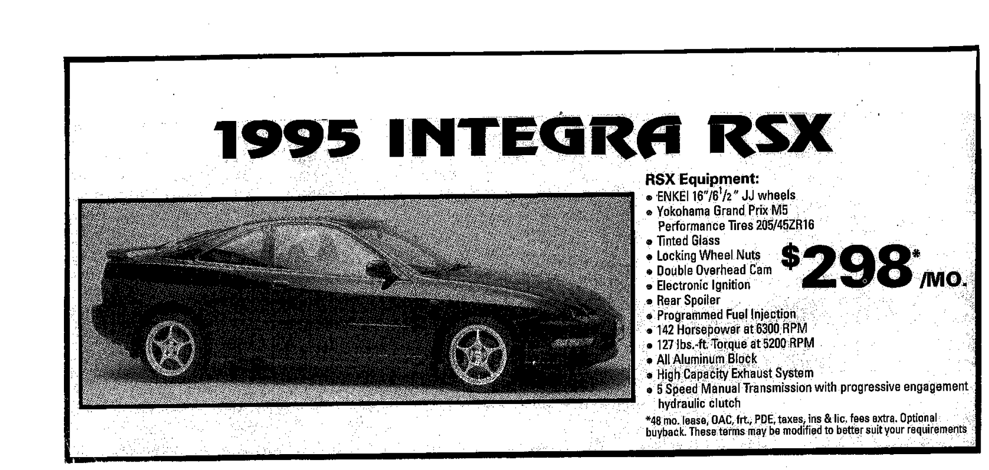 The newspaper clipping advertising Marc's Integra.