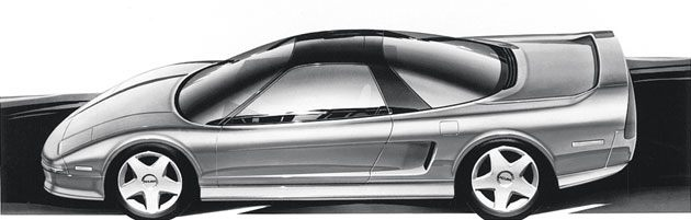 A sketch of the NSX's exterior, with its sleek profile based on an F16 fighter jet. Photo via Honda.com