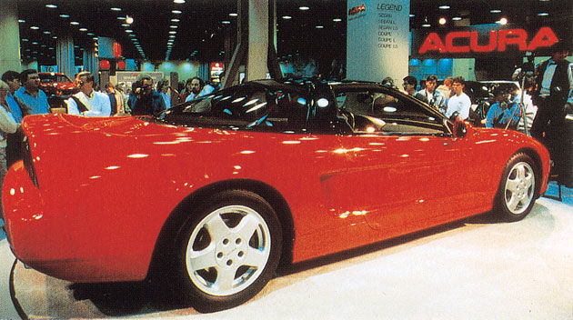 The bright-red NS-X drew crowds of enthusiastic viewers at the Chicago Auto Show in February 1989. Photo via honda.com.